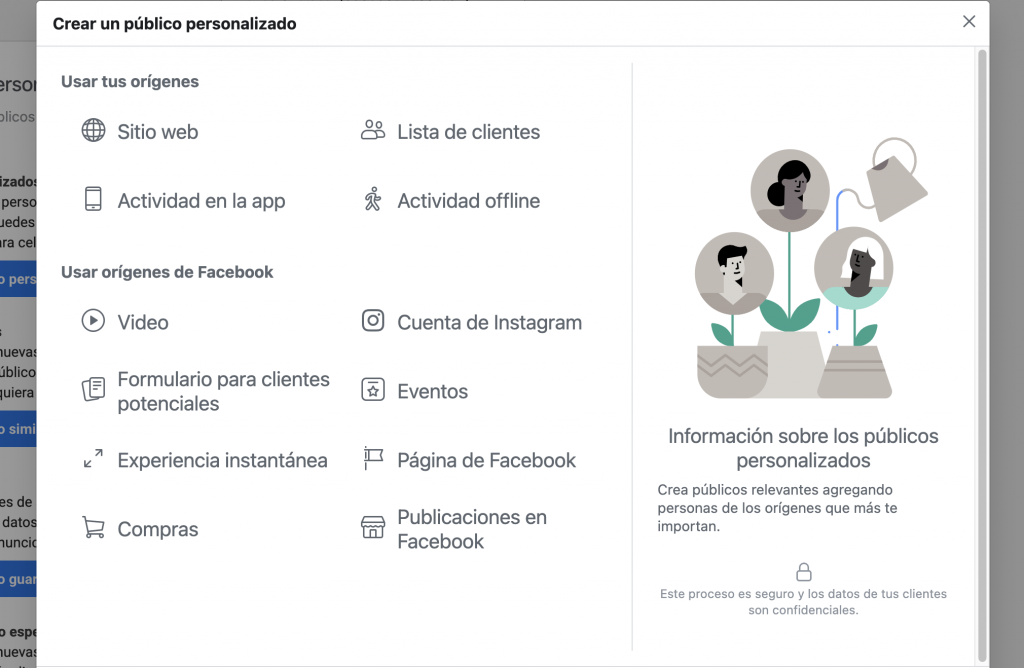 Crear audiencias personalizadas en Facebook